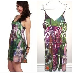 Desigual Rope Strap Floral Art To Wear Mini Dress